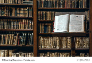 Arequipa, Peru - March 9, 2011: Books are subject to restoration after the tsunami in the Ricoleta Library the oldest library in Peru and Latin America
