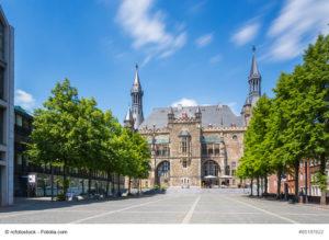 Aachener Rathaus vom Katschof her gesehen