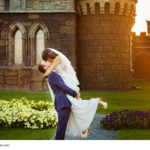beautiful wedding couple is having fun at vintage castlle